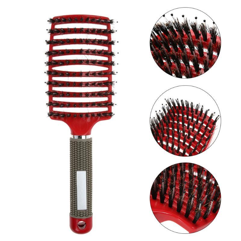 Filles cheveux cuir chevelu Massage peigne brosse à cheveux soies Nylon femmes humide bouclés démêler brosse à cheveux pour Salon de coiffure outils de coiffure |