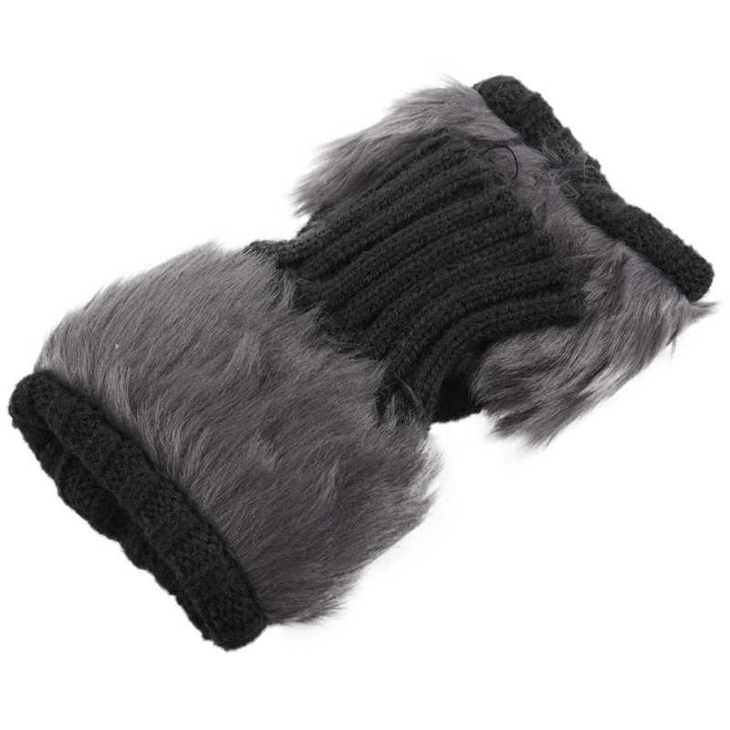 سيدة فتاة أشعث فو الفراء متماسكة رقيق الأيدي/تدفئة الساق الكاحل أغطية للأحذية قفازات-رمادي داكن