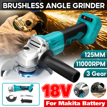 100/125mm 3 Speed Brushless Electric Angle Grinder Polisher Grinding Machine Cordless