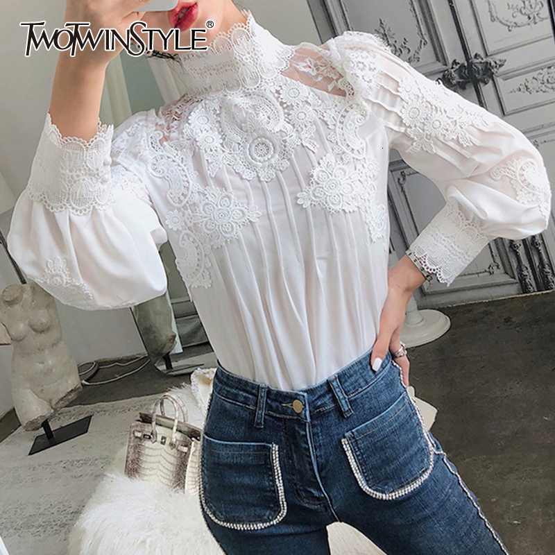 TWOTWINSTYLE Mesh Lace Patchwork Shirt Female Stand Collar Lantern Sleeve Woman Blouses 2020 Autumn Korean Fashion Clothing New