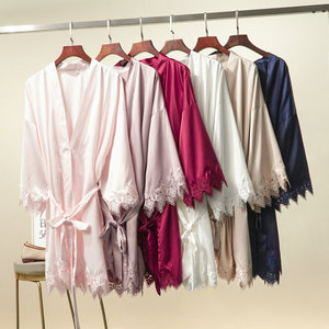 Image 3 - YUXINBRIDAL 2019 New Matt Satin Lace Robe with Trim Gown Bridal Wedding Bride Bridesmaid Kimono Robe Bathrobe Satin Robes Women