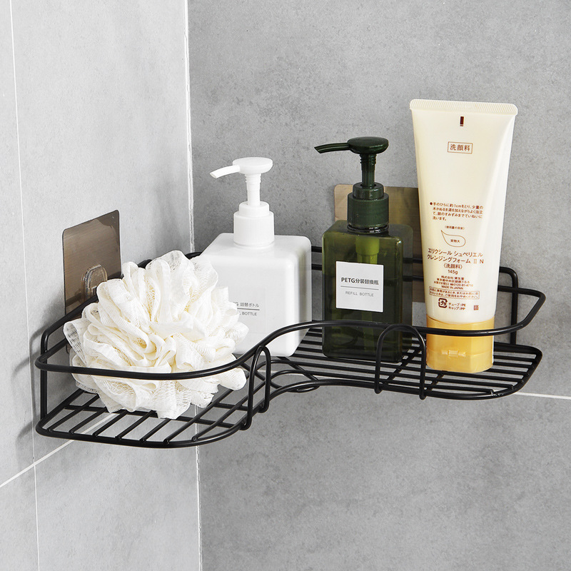 New Bathroom Accessories Punch Free Corner Bathroom Shelf Bathroom Fixtures Wrought Iron Storage Rack Kitchen Tripod Wall Shelf Storage Holders Racks Aliexpress