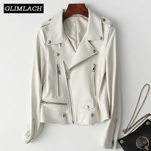 Motorcycle White Real Leather Jacket Women Short Slim Genuine Leather Coat Lady Streetwear Sheepskin High Quality Clothes Female(China)
