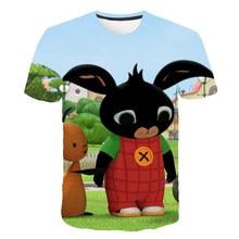 Bing t camisa crianças verão 3d cartoon coelho camiseta meninos meninas casual topos o-pescoço impressão de manga curta roupas infantis 4-14 ano