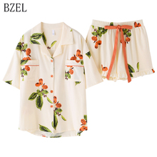 BZEL Floral Sleepwear Womens Pajama Sets New Cotton Pijama With Pockets Pyjama Femme Quality Ladies Home Suit Clothes For Home