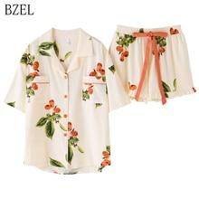 Bzel floral pijamas feminino conjuntos de pijama novo algodão com bolsos pijama femme qualidade senhoras casa terno roupas para casa
