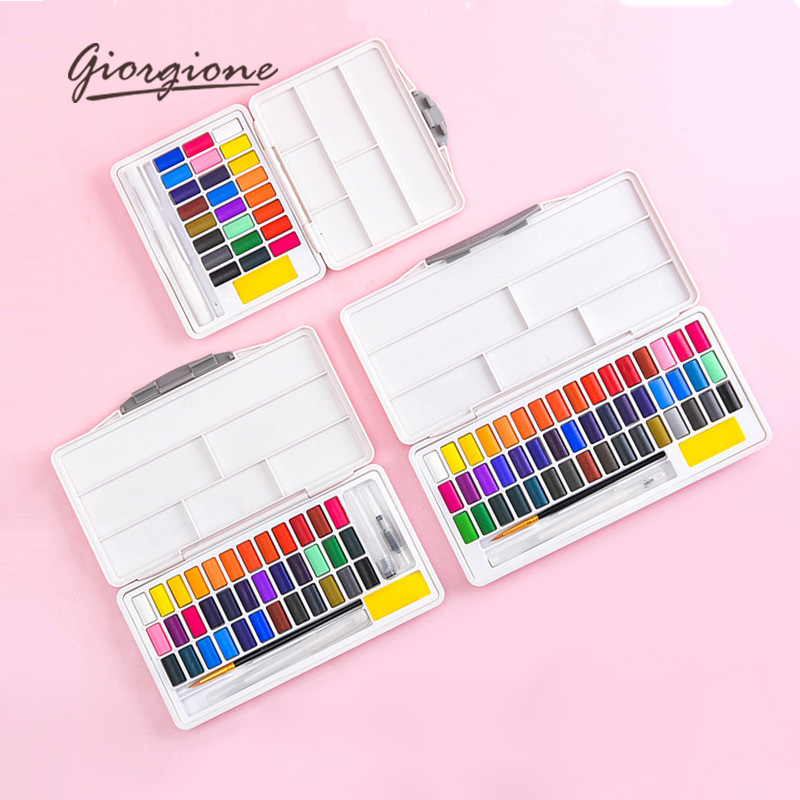 Giorgione Solid Watercolor Pigments Set 24/36/48 Colors Student Portable With Water Brush Hook Pens School Painting Art Supplies