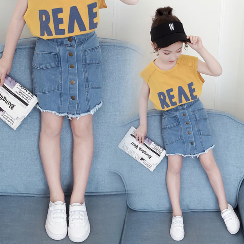 Fashion Girls Clothes Denim Skirts 2020 New Summer Kids Jean Clothes 8 10 12 14 Years Teen Clothes Denim Skirts
