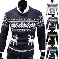 Осень-зима, мужской свитер, водолазка с рождественским оленем, свитер с принтом, Повседневный, приталенный, брендовый, Вязанный свитер, мужс...