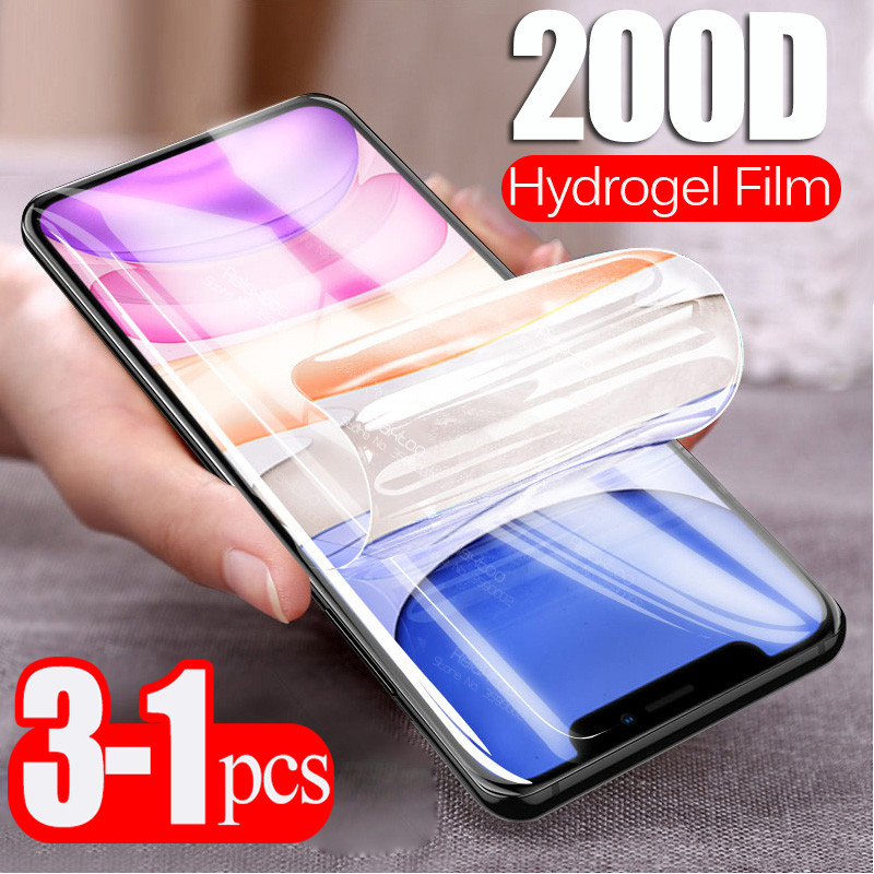 3pcs 200D Curved Hydrogel Film For Iphone 11 Pro XS Max XR X 6 6s 7 8 Plus Safety Soft Film Screen Protector Not Tempered Glass