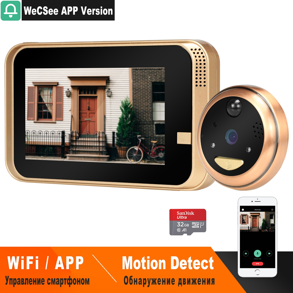 HomeFong Smart Video Peephole Wifi Doorbell Camera Wireless Video Door Phone For Home With Wide Angle IR Motion Detection Record