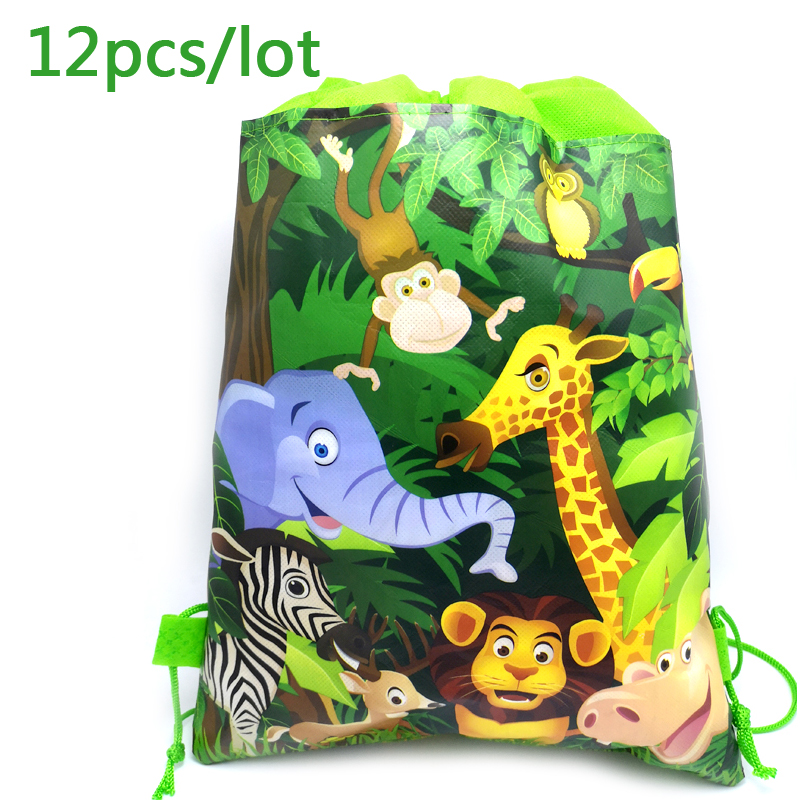 Jungle Animal Theme Mochila Birthday Party Non-woven Fabrics Drawstring Gifts Bags Baby Shower Decoration Backpack 12pcs/lot