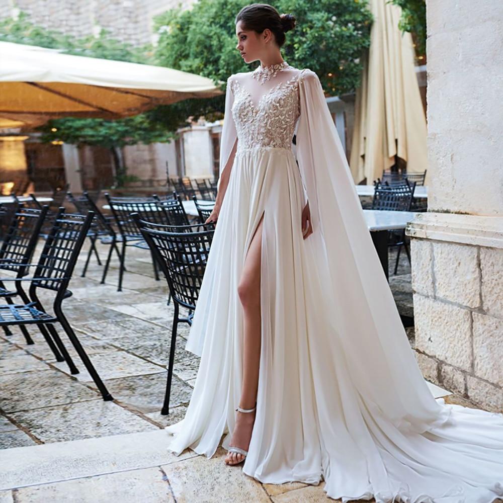 Eightree Lace Appliques Wedding Dresses Chiffon A-Line Bride Gown High Neck Open Back Wedding Gowns Split Boho Vestido De Noiva