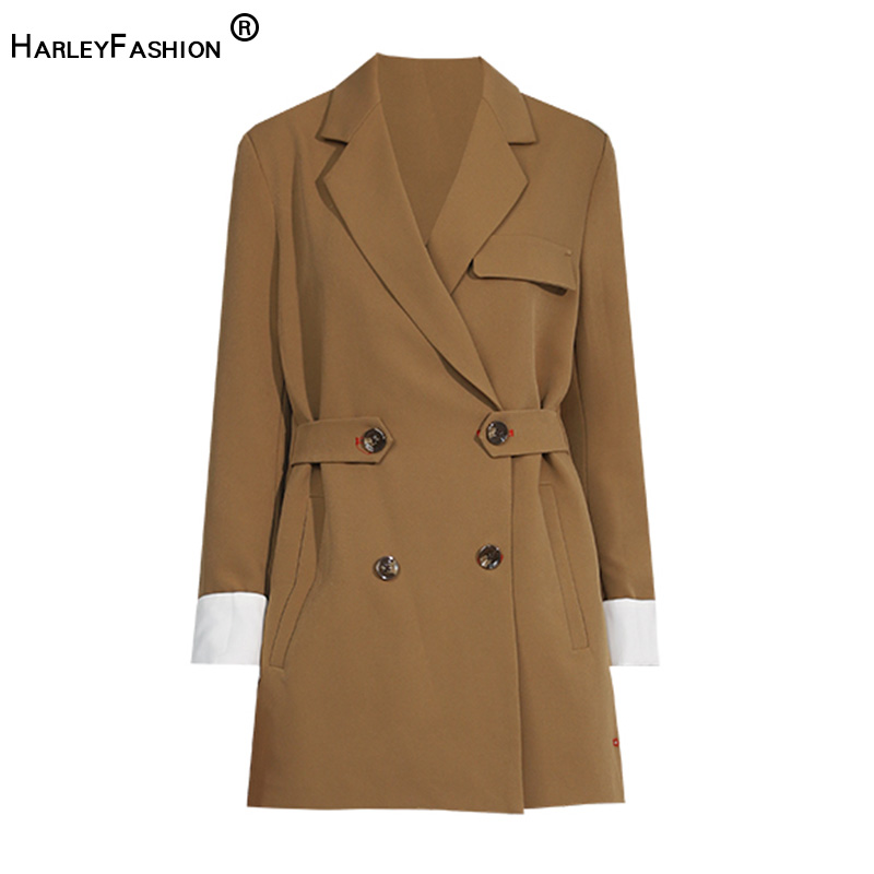 HarleyFashion Women Russian Classic Design Women Solid High Street Loose Jacket Spring Casual Long Quality Blazer