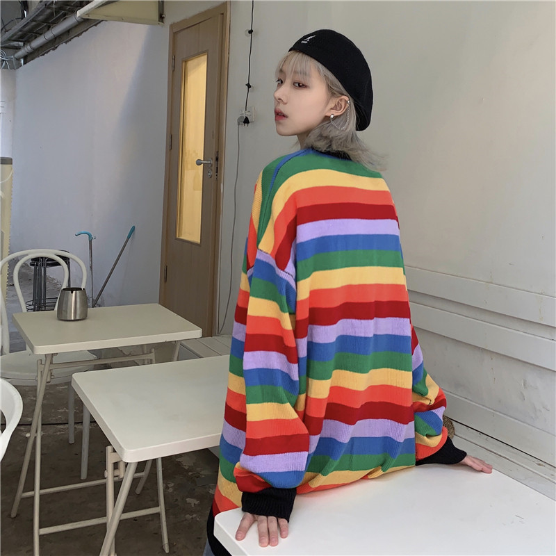 Focal20 Streetwear Rainbow Stripe Women Sweater O-neck Loose Female Knitted Jumpers Tops Casual Autumn Lady Sweaters Pullovers