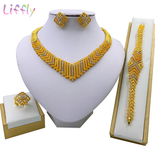 Liffly Nigerian Jewelry Sets Geometric Lines Simple Elegant Fashion Trendy Female Arabian Bridal