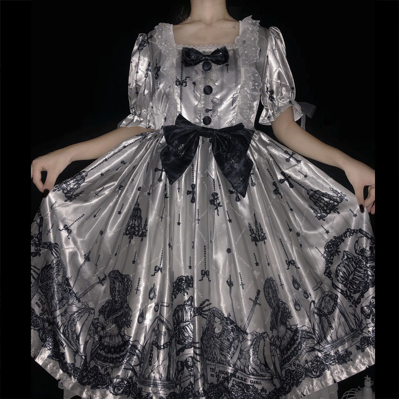 Dark Gothic Lolita Dress Puff Sleeves Victorian Dress Kawaii Ruffle Lace Cute Girls Black Dress Halloween Cosplay Costume BL4543