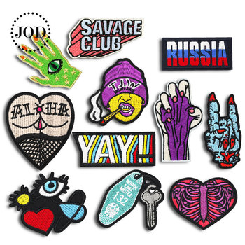 Skull Heart YAY Name Letter Butt Eye Palm Rock Embroidery Cloth Patch Iron on Clothes Biker Trend Patches for Clothing Punk Dip image