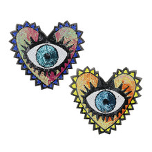 large embroidery big patch love heart eyes cartoon patches for bag badges applique patches for clothing AM-228