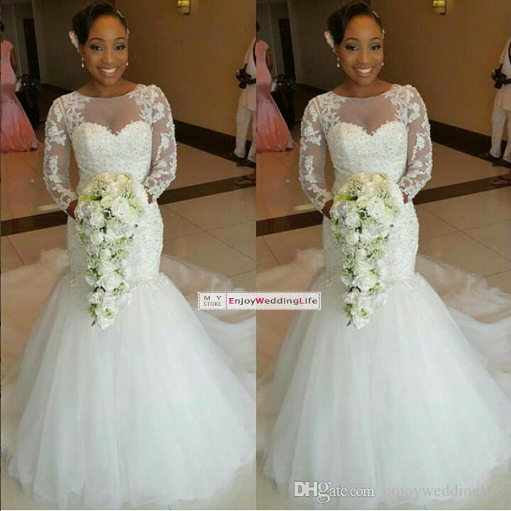 2015 Sheer Lace Mermaid Wedding Dresses Long Sleeves Jewel Neck Illusion Backless Chapel Train Organza Appliques Bridal Gowns