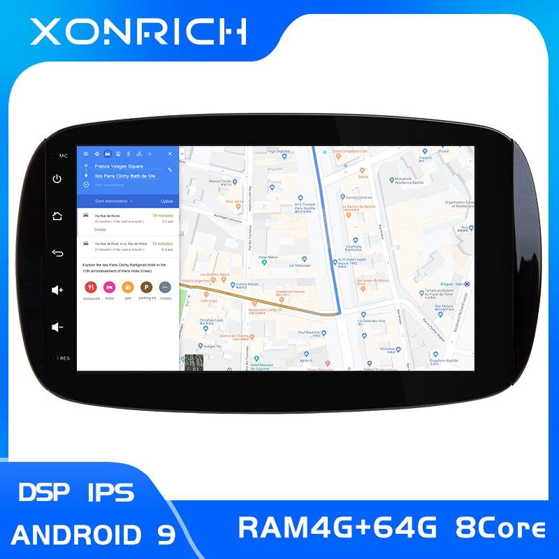 IPS DSP 4G RAM 64GB 1 din Android 9,0 Car Radio reproductor Multimedia para Mercedes Smart Fortwo 2015 2016, 2017 navegación GPS ESTÉREO Aspirador de robot LIECTROUX B6009,3KPa Succión, Mapa de navegación, con Memoria, Aplicación WiFi, Tanque de Agua, Motor sin Escobillas, Bloqueador Virtual
