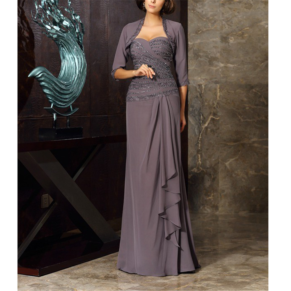 Excellent Chiffon Plus Size Mother Of The Bride Dresses With Jacket A-line Gorgeous Half Sleeves Beading Ruffles Women's Dresses