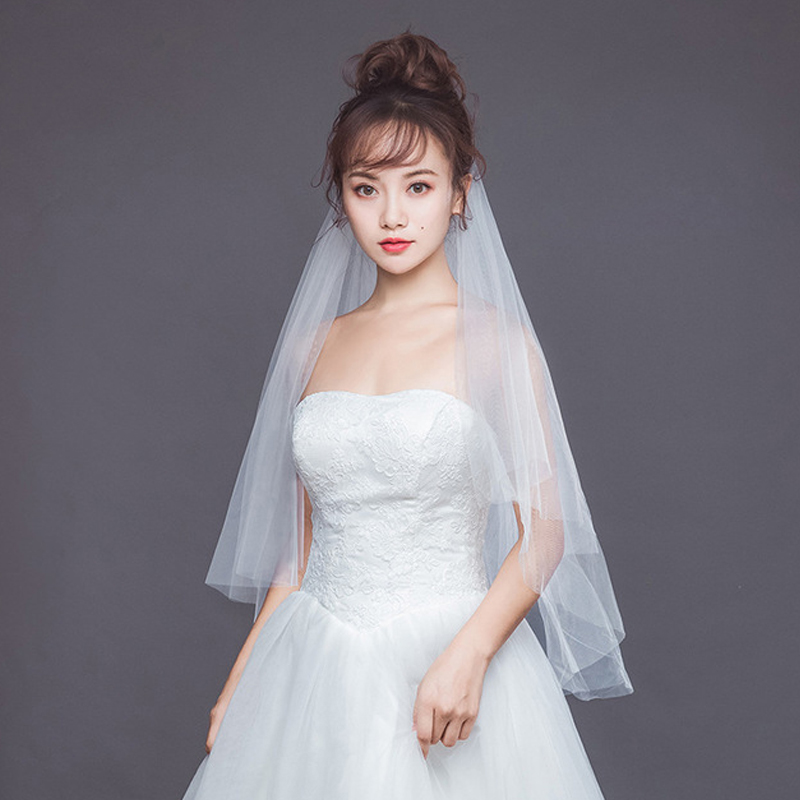 OLLYMURS Wedding Bridal Veil Cut Edge Shoulder Length Veil One-Layer 100cm Lace Long Wedding Veil Wedding Accessories