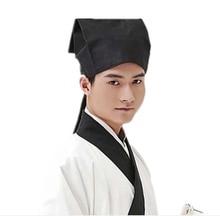 Hanfu כובע גברים סיני מסורתי עתיק חוקר מורה שחור כובע כיסוי ראש זכר בציר הקונפוציאנית מגבת קוספליי כובע לגברים