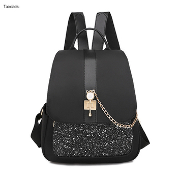 Small Diamond Powder Oxford Cloth Backpack Female New Flash Fashion Wild Bag Large Capacity Casual Backpack Student School Bag