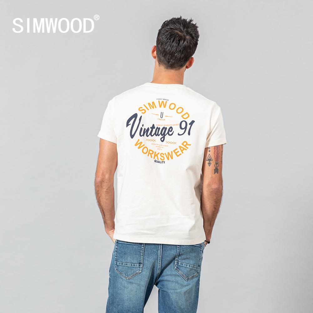 SIMWOOD 2020 Summer New T-shirt Men Fashion Letter Print 100% Cotton Plus Size Tees Breathable Quality Tees SJ120584
