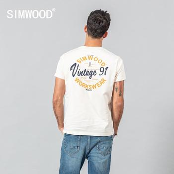 SIMWOOD 2020 summer new t-shirt men fashion letter print 100% cotton plus size tees breathable quality SJ120584 - discount item  49% OFF Tops & Tees