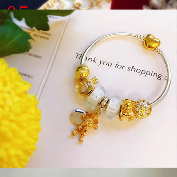 High Quality Reproduction 1:1 100%925 Pure Silver White Glaze Beads Gold Crown Bracelet Free Shipping