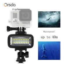 Orsda Gopro אביזרי LED 40m מתחת למים עמיד למים מנורת Gopro אור Led וידאו פלאש למלא אור עבור SJCAM Xiaomi 700LM SL 100