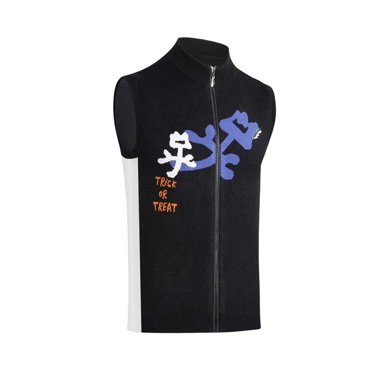 Swirling New Golf Sweater Vest Knit Jacket Small Flower Rabbit Velvet Golf Zipper Warm Sleeveless Jacket Free Shipping