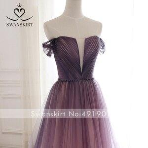 Image 5 - Romântico vestido de noite 2020 swanskirt praia fora do ombro a linha tule princesa cinto de cristal vestido de noiva noiva a263