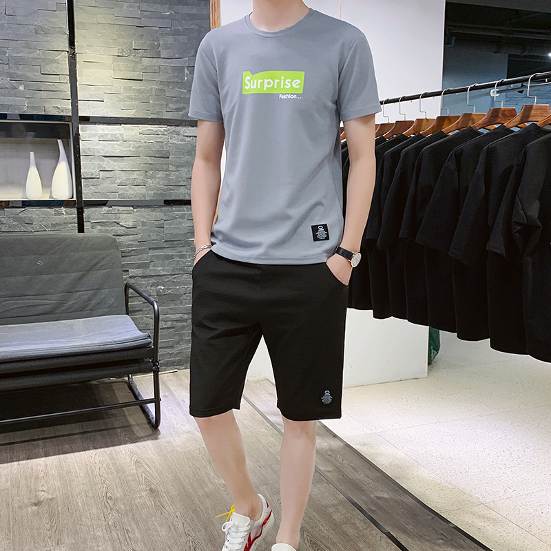 New 2020 Summer Tracksuit Men Two Piece Set Mens Sportwear Shorts Sets Outwear Men Short Sleeve T Shirt Cropped Top+Shorts Suit