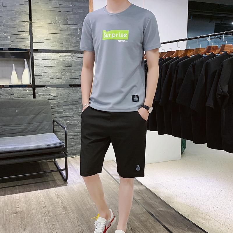 New 2020 Summer Tracksuit Men Two Piece Set Mens Sportwear Shorts Sets Outwear Men Short Sleeve T Shirt Cropped Top+Shorts Suit