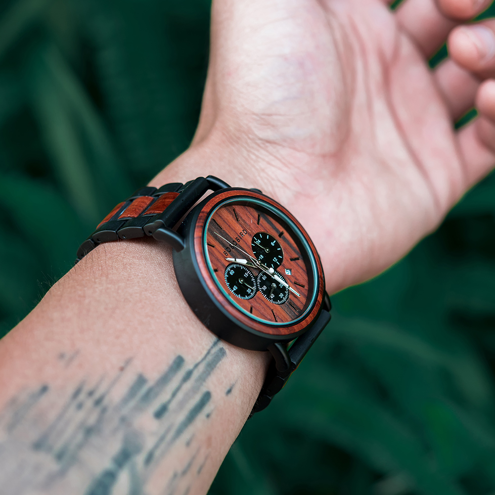 H30b744c5b021449c8e22844b9b904fffs BOBO BIRD Wooden Watch Men erkek kol saati Luxury Stylish Wood Timepieces Chronograph Military Quartz Watches in Wood Gift Box
