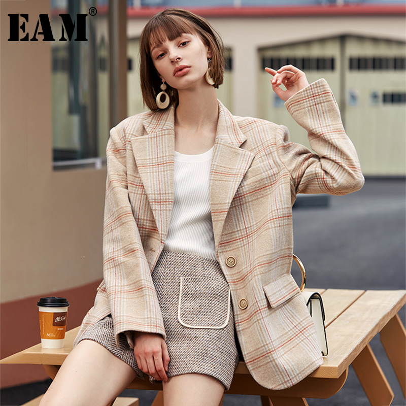 [EAM]  Women Apricot Plaid Split Big Size Blazer New Lapel Long Sleeve Loose Fit  Jacket Fashion Tide Spring Autumn 2019 1H821