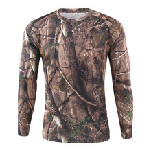 HEFLASHOR mens Long Sleeve T-Shirt Outdoor Camouflage Quick-drying Hunting Hiking Camping Mens Shirt 2019