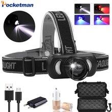 Lampe frontale étanche, Rechargeable par USB, lumière rouge et bleue, lumière Zoom puissante, éclairage dextérieur, nouveau modèle