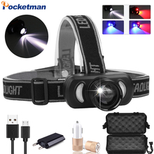 New Headlamp USB Rechargeable Headlight Red Light Blue Light Head Light Zoom Powerful Head Lamp Waterproof for Outdoor Using