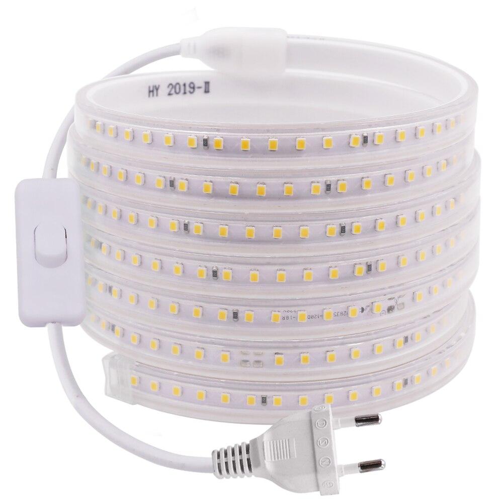 Led Strip Light For Home Decor 220V 2835 120Leds/m Flexible Rope Tape IP67 Waterproof LED Strip With EU Switch Plug Tiras Led