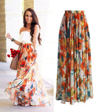 1PC popular Chiffon BOHO Womens Floral Jersey Gypsy Long Maxi Full Skirt Beach Sun Dress High quality Beautiful ladies dress women floral print bohemian maxi dress gypsy wrap maxi dress vintage puff sleeve blossom boho maxi dress spell dress
