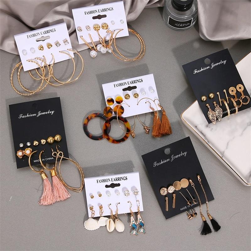 VKME Fashion earrings for women earings Set Jewelry For Women Girl Bohemian 2020 Simulated Pearl earings Gold Jewellery Brincos