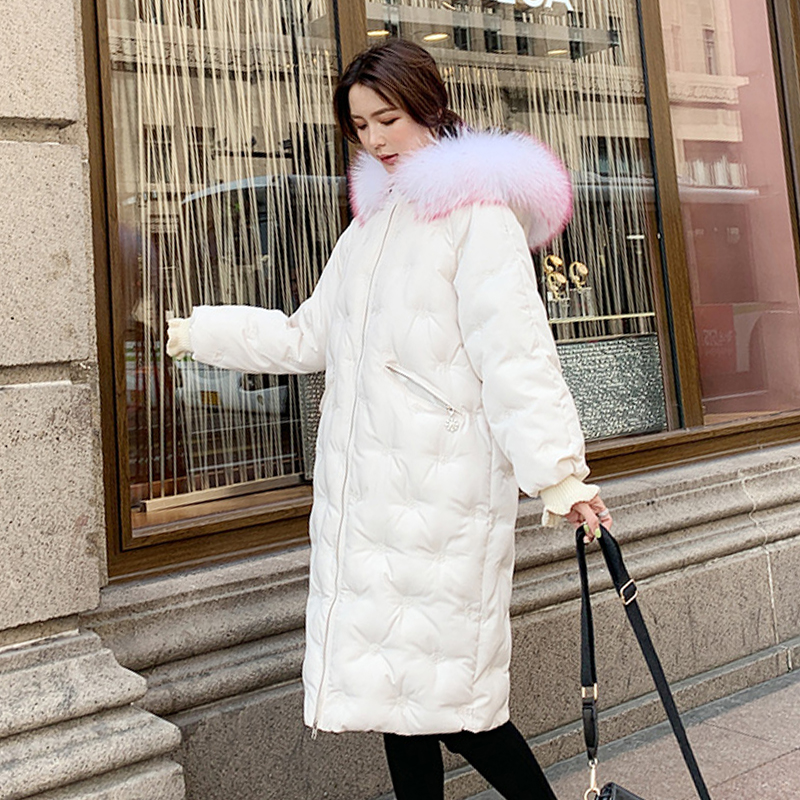 Winter Women Jacket 2019 Female Coat Hooded Fur Collar Thick Long   Parka   With Snow Zipper Large Size Jackets