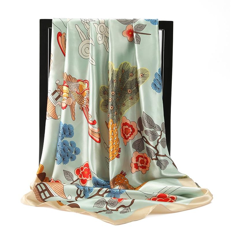 Модный шарф в китайском стиле, женские красные шелковые атласные шарфы 90*90 см, роскошная брендовая квадратная шаль, головные шарфы, платок, бандана|Женские шарфы| | АлиЭкспресс