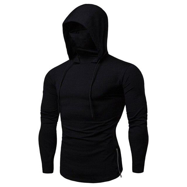 Mens Gym Thin Hoodie Long Sleeve Hoodies With Mask Sweatshirt Casual Splice Large Open-Forked Mask Hoodie Sweatshirt Hooded Tops 2