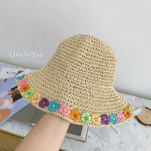 Hand-Crocheted Straw Hat Floret Sun Protection Tourism Holiday Small Fresh Straw Hat(China)