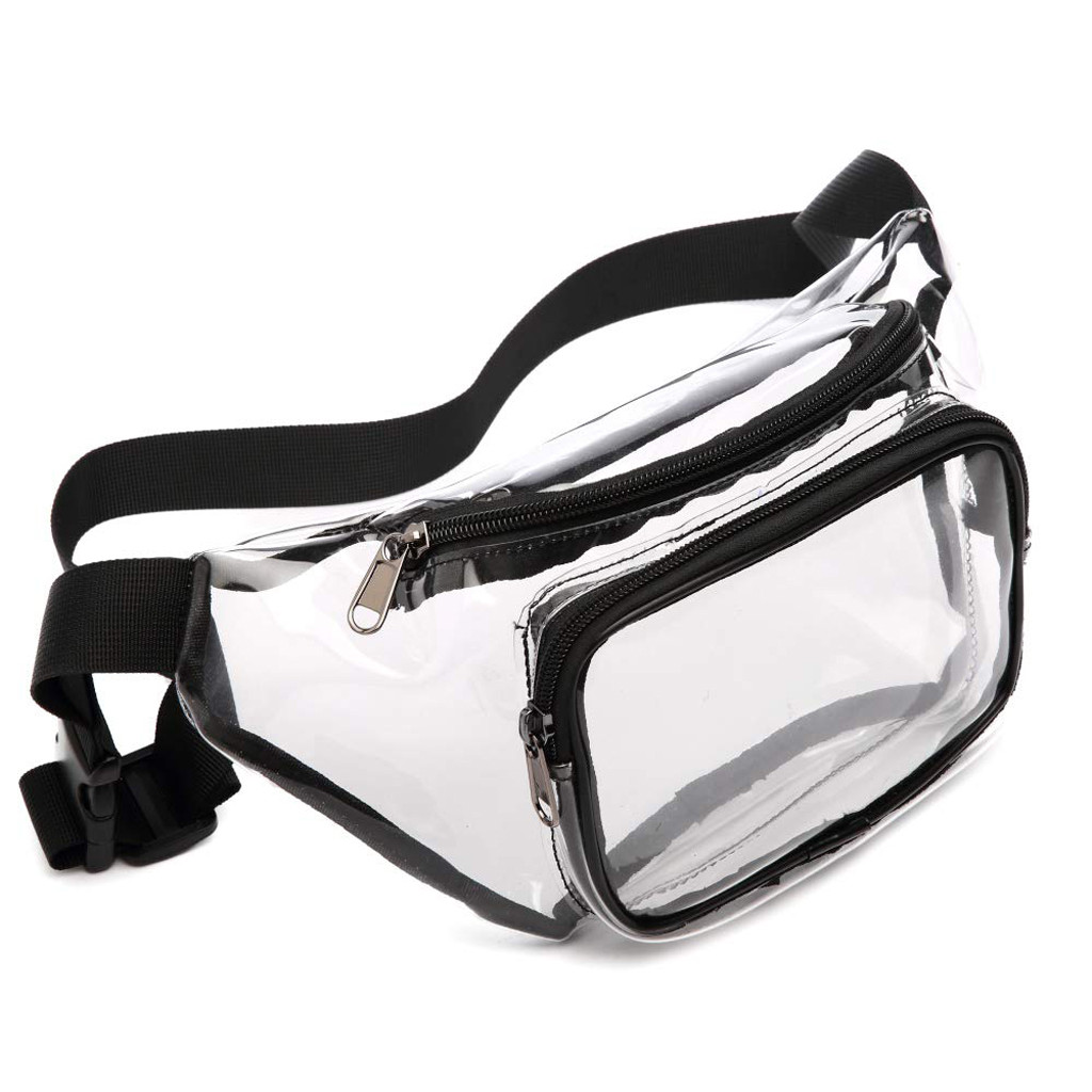 Women Transparent PVC Clear Zipper Waist Fanny Pack Belt Bag Lady Portable Travel Hip Bum Bag New Fashion Style